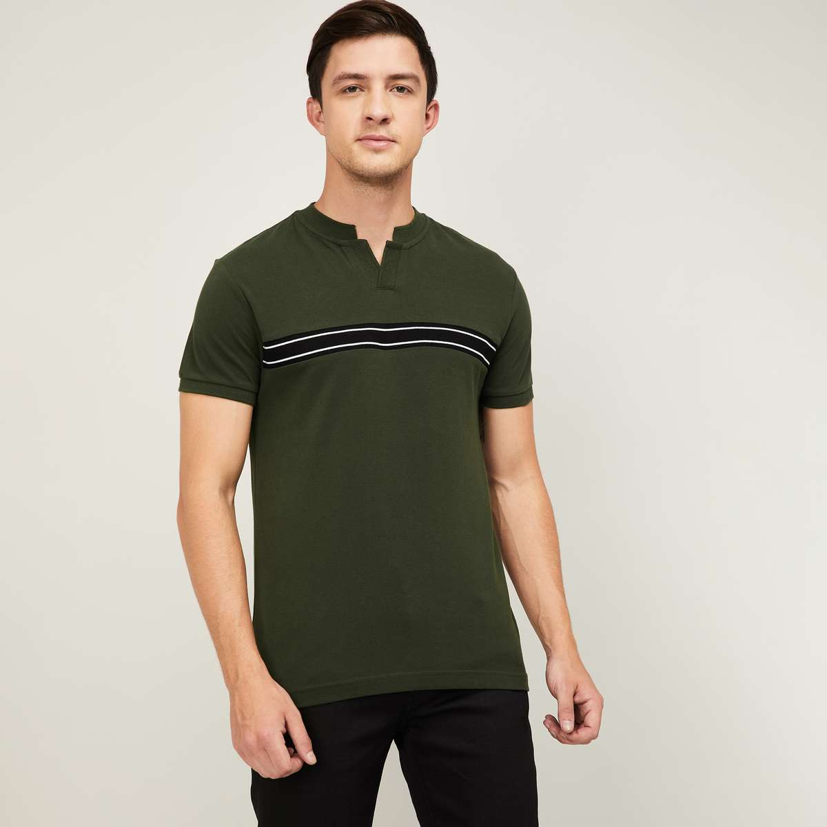 DENIMIZE Men Striped Regular Fit Polo T-shirt