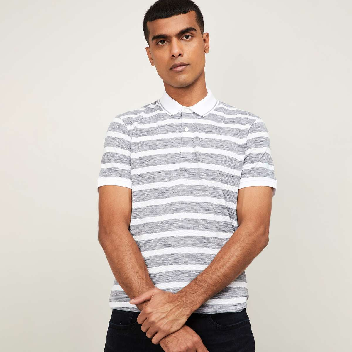 FAME FOREVER Men Striped Regular Fit Polo T-shirt