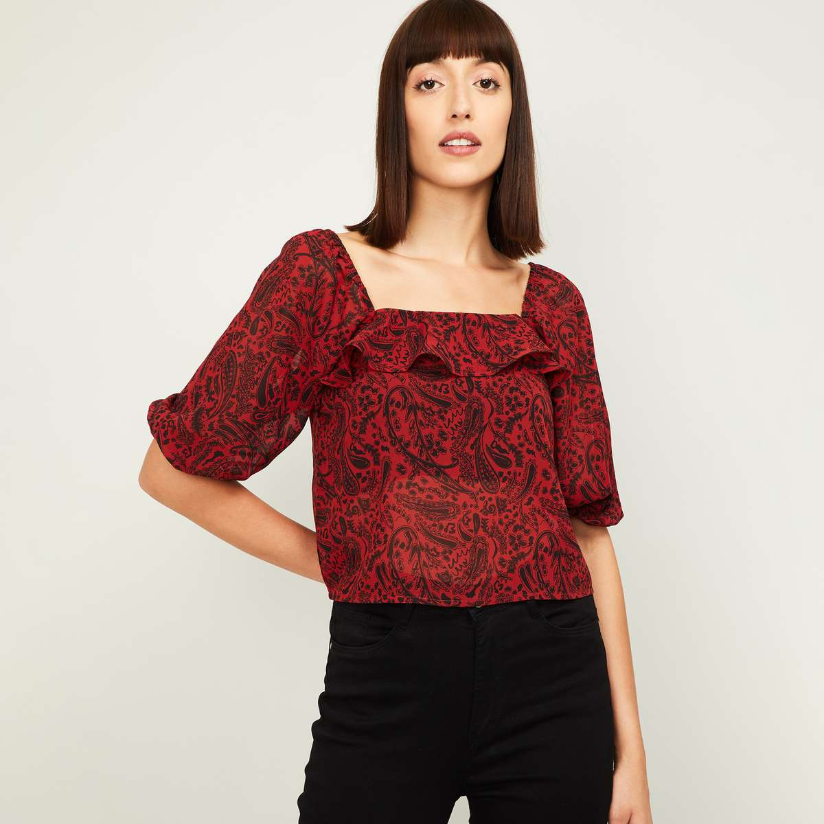 GINGER Women Printed Ruffle Detail Square Neck Top