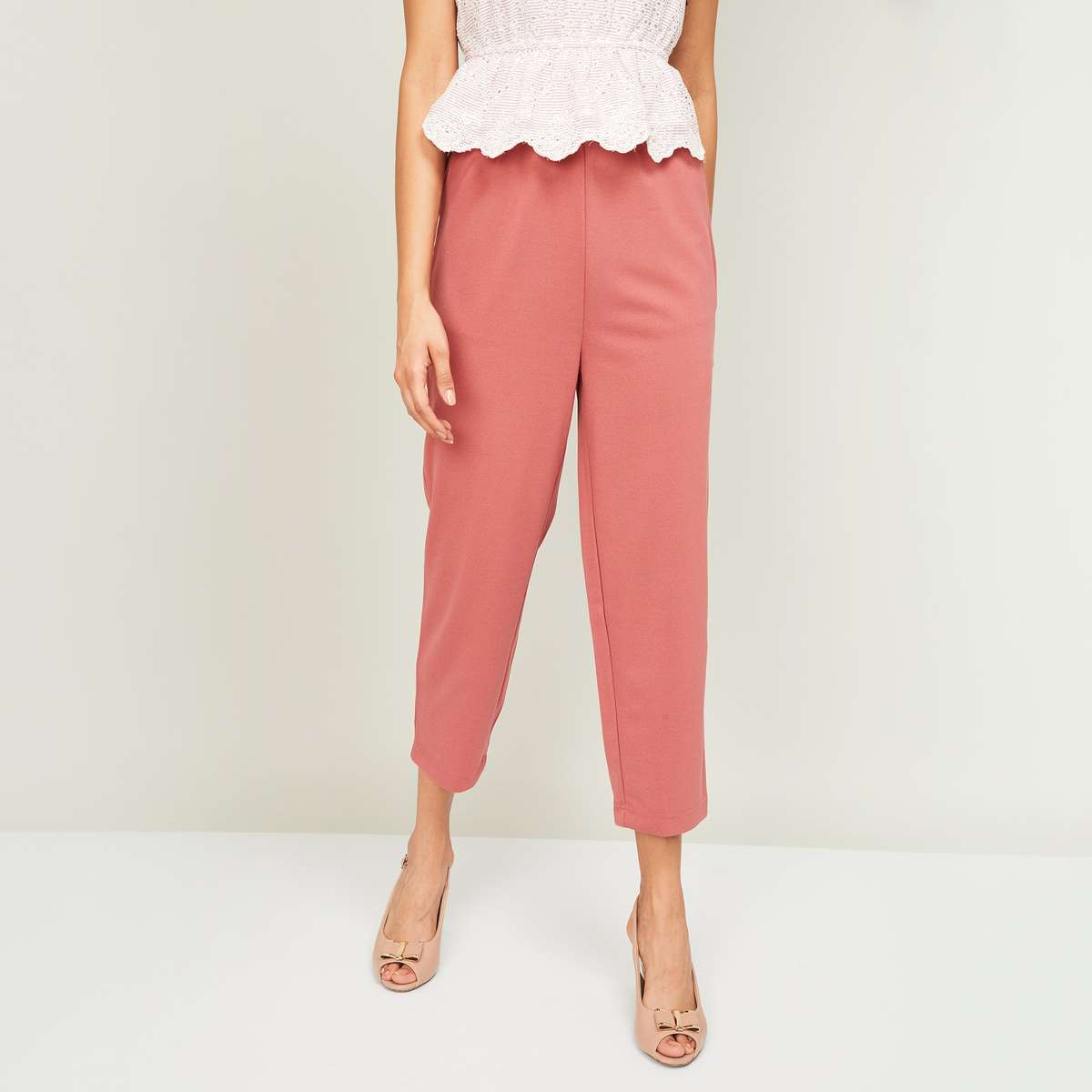 5.GINGER Women Solid Knit Elasticated Pants