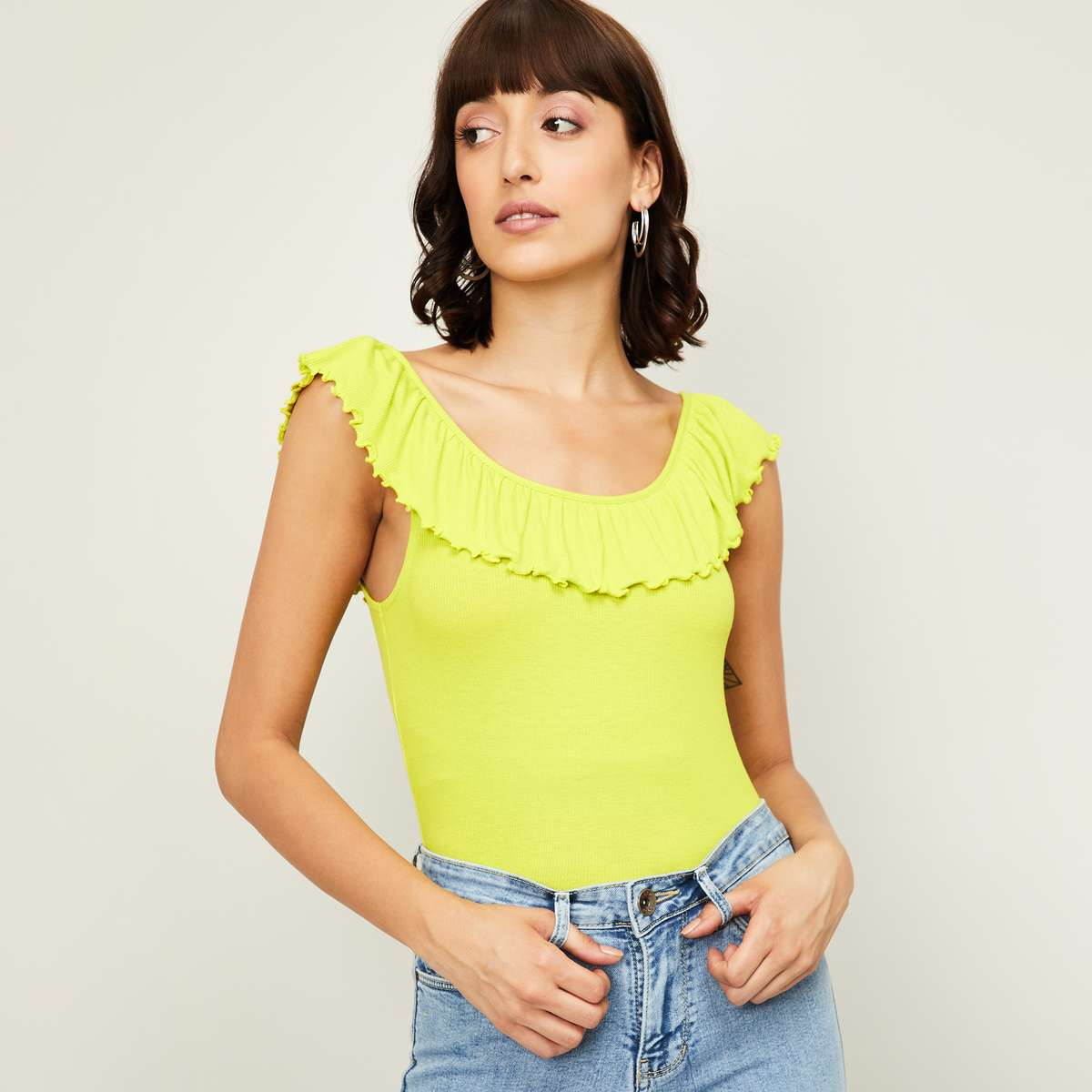 1.GINGER Women Solid Ruffle Detailed Top