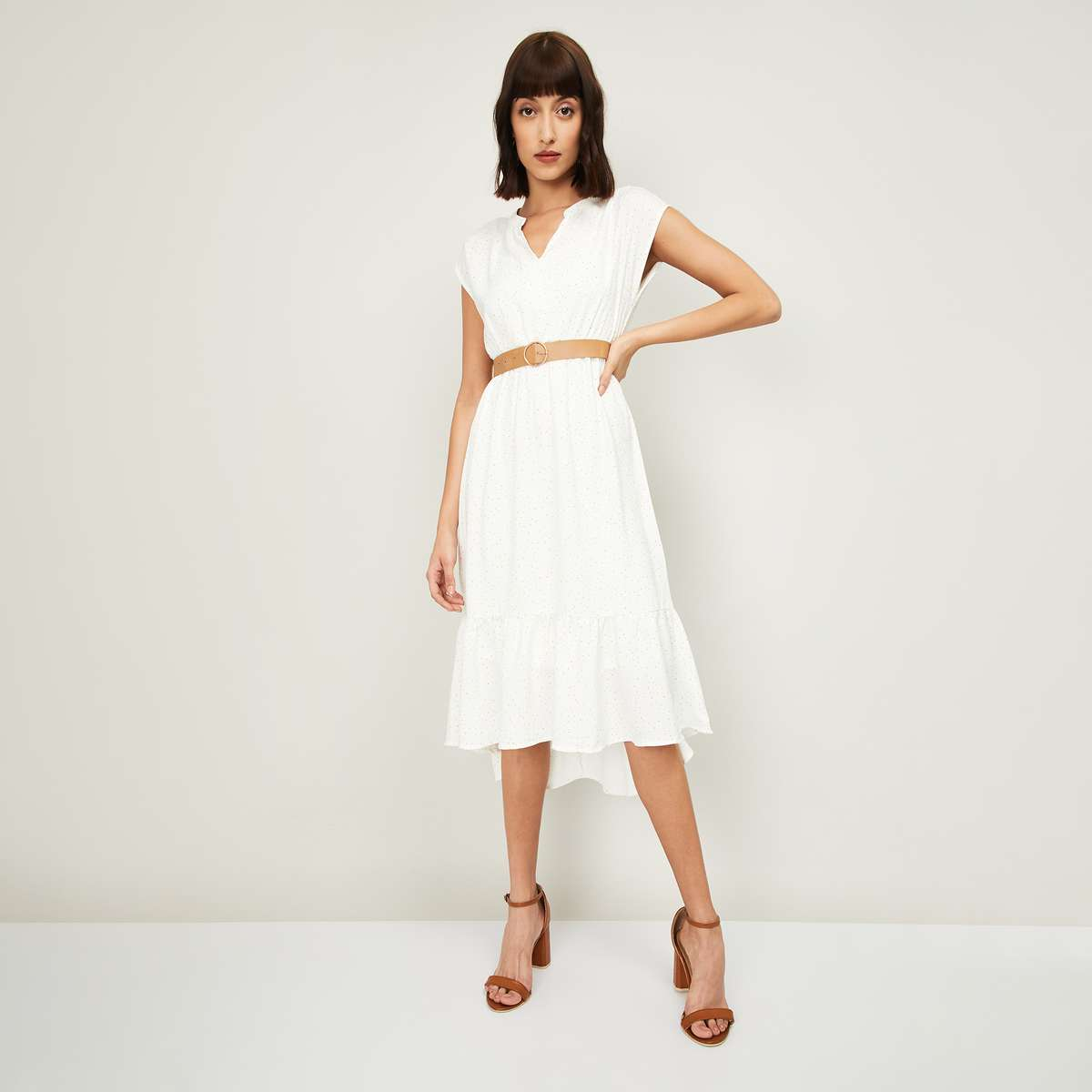 10.CODE Women Printed High-Low A-Line Dress with Belt