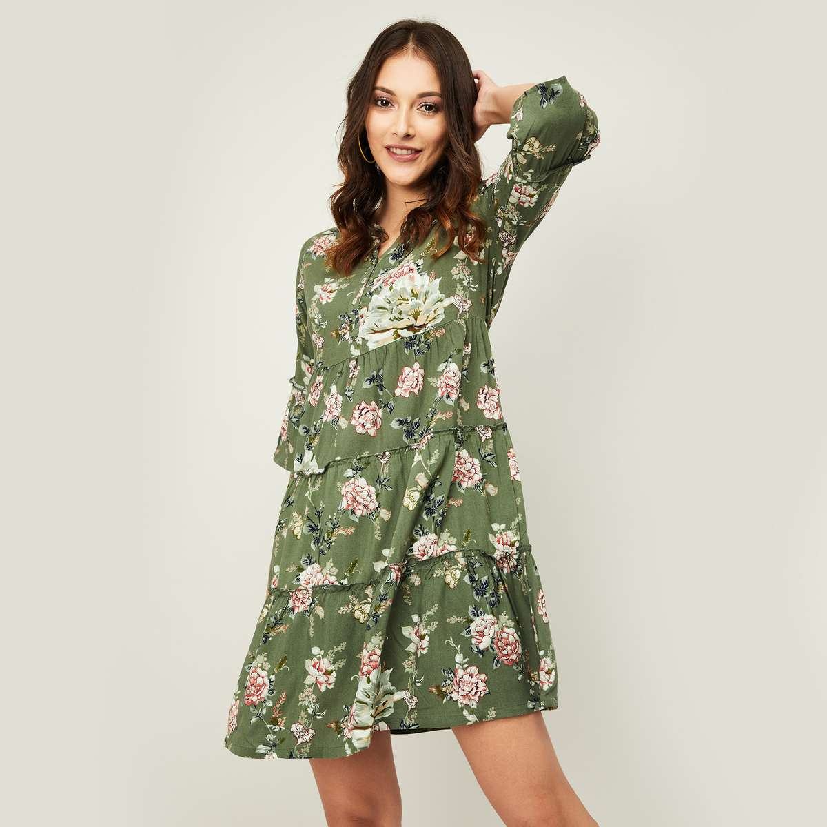 2.FAME FOREVER Women Floral Print Three-quarter Sleeves A-line Dress