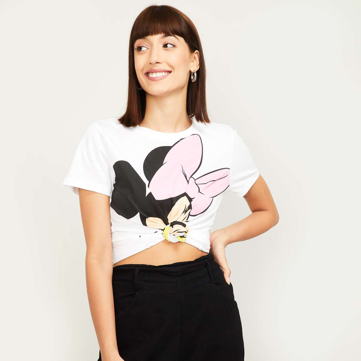 2.GINGER Women Mickey Mouse Print Round Neck T-shirt