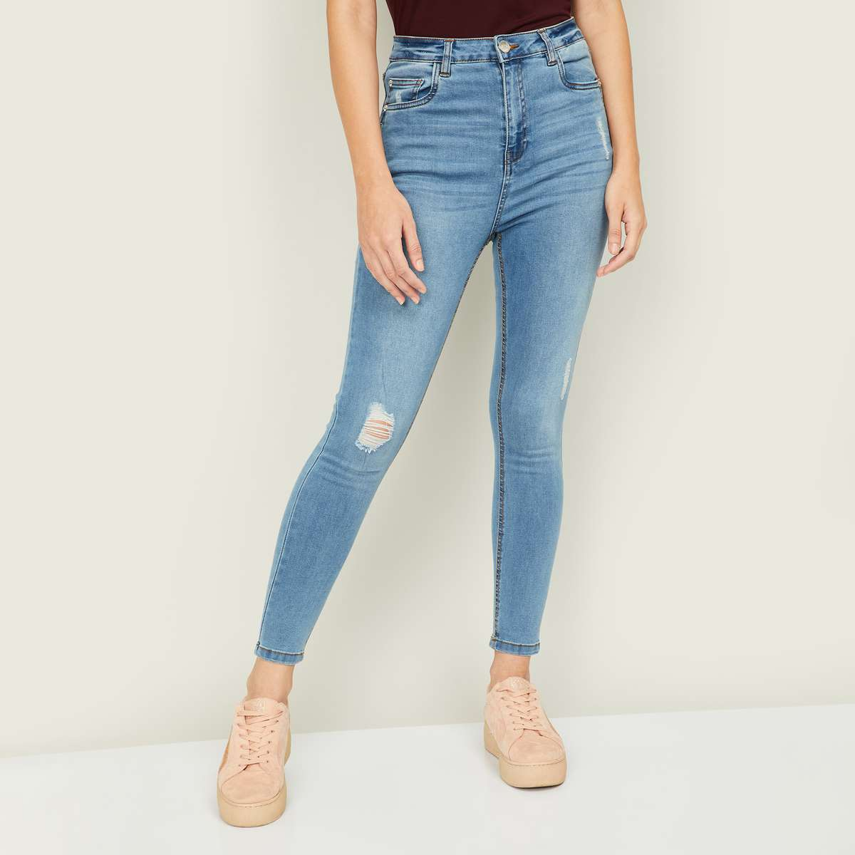 2.GINGER Women Stonewashed Skinny Fit Jeans