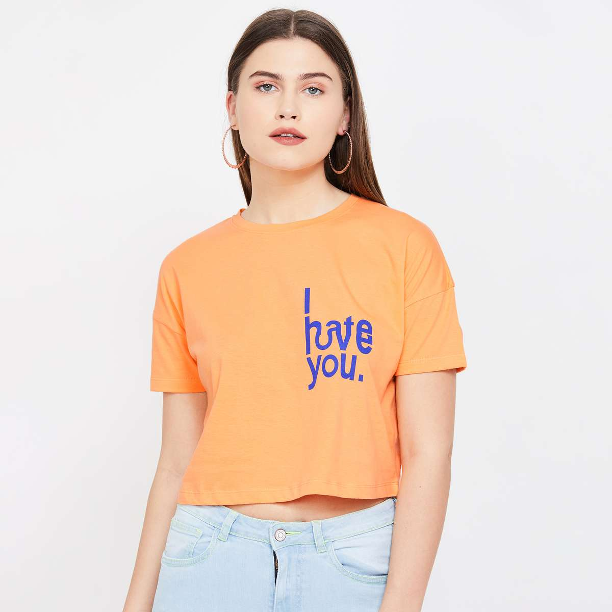 3.GINGER Printed Cropped Round Neck T-shirt