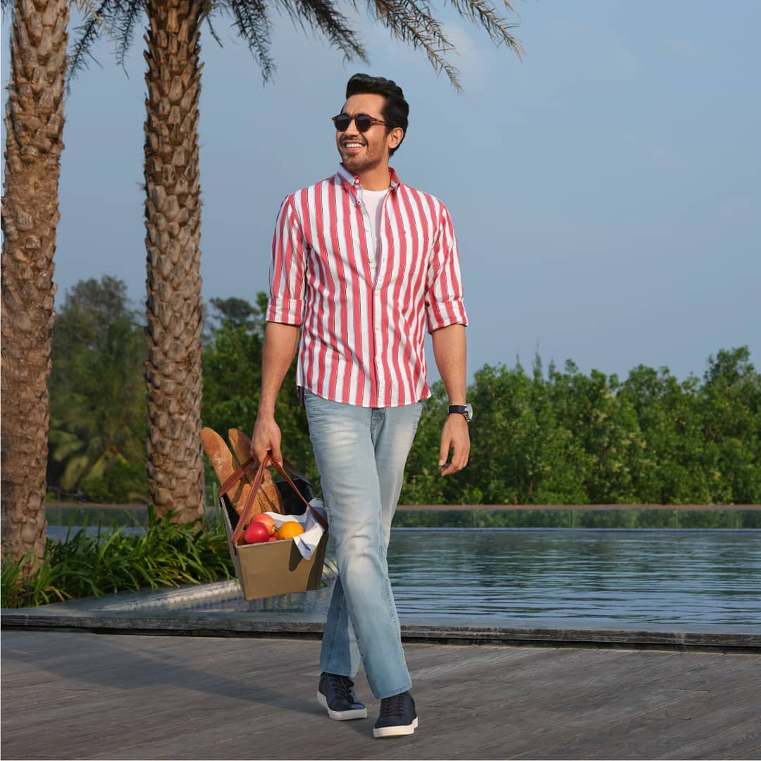 4.striped shirt and fitted jeans by Indian Terrain