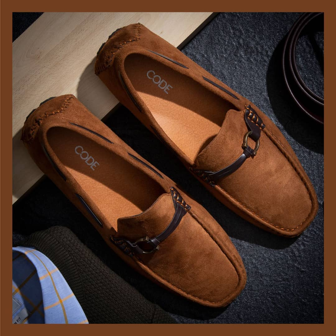 1.closet staple stylish and casual loafers with a detailed horse shoe buckle from CODE by Lifestyle.