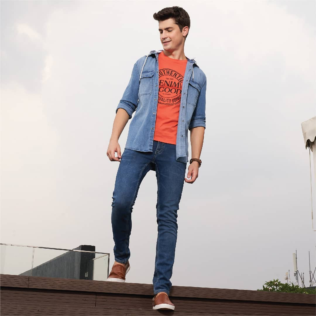 1.stonewashed hooded shirts and skinny jeans from Forca by Lifestyle