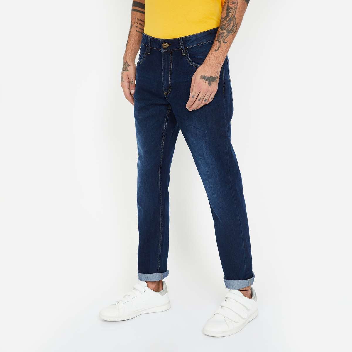 1.FORCA Dark Washed Slim Fit Jeans