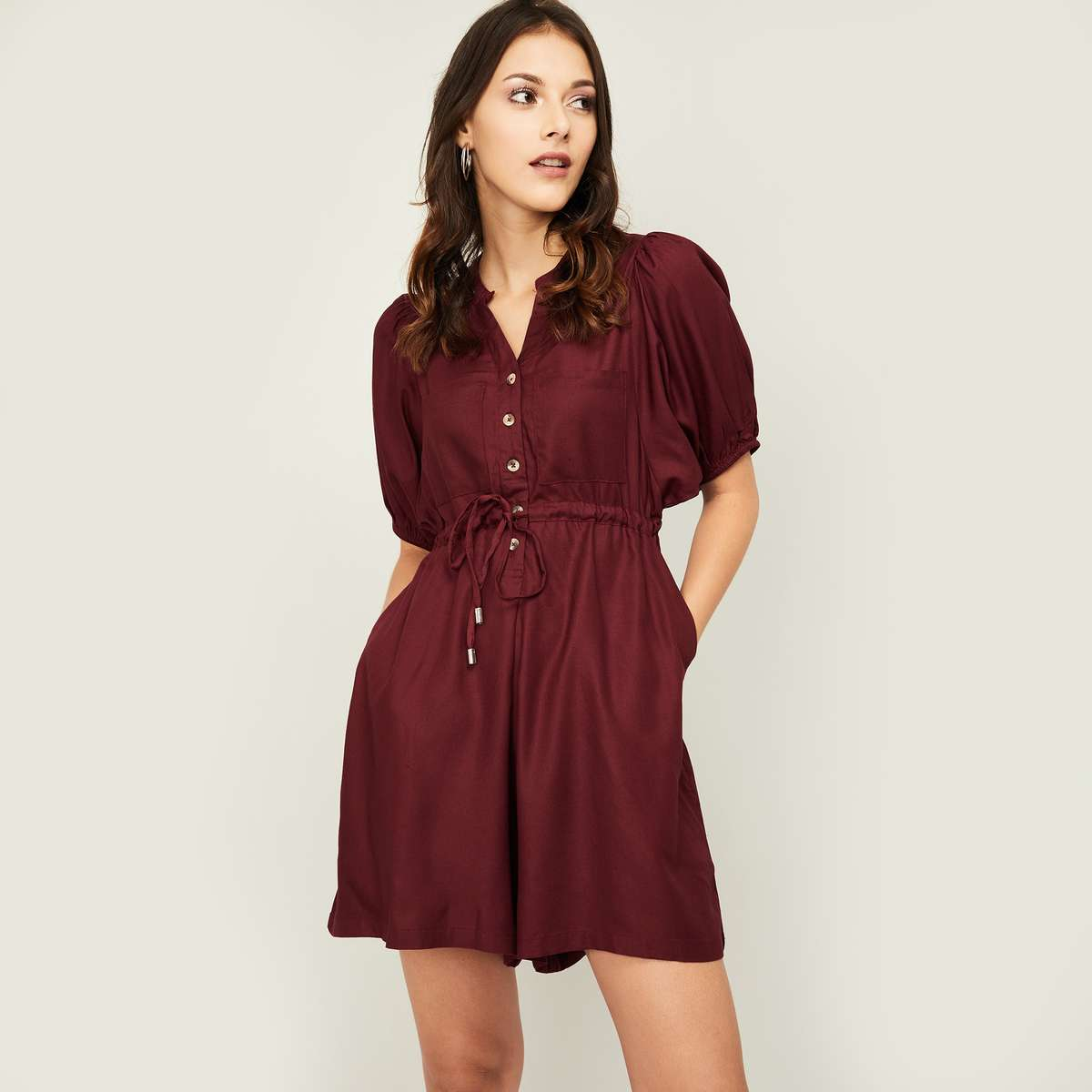 2.FAME FOREVER Women Solid Puffed Sleeves Jumpsuit