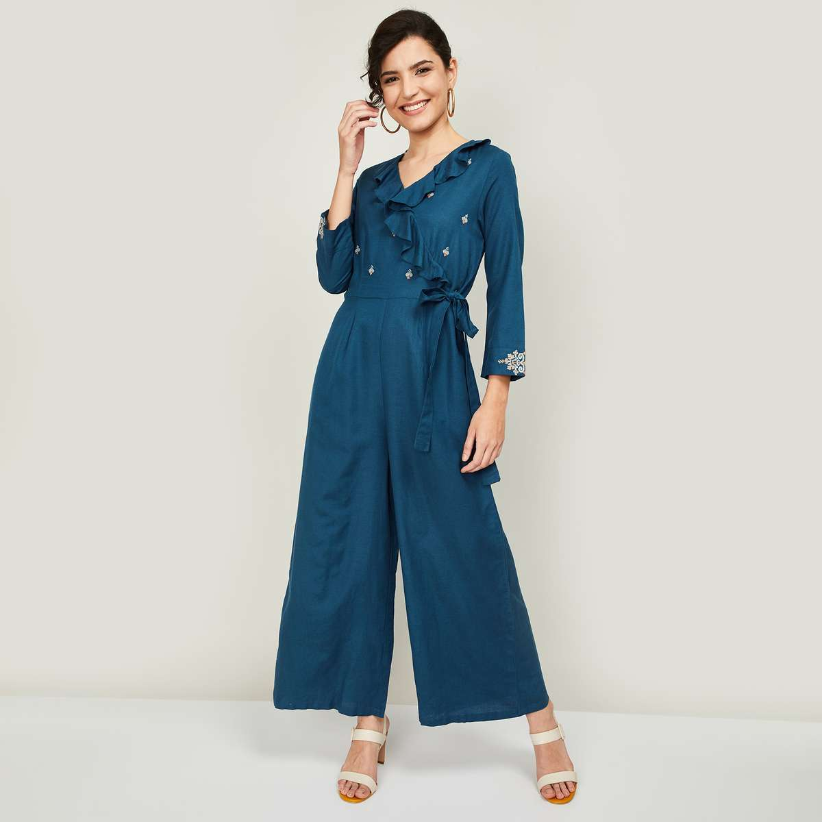 2.GLOBAL DESI Women Embroidered Jumpsuit