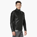 FORCA Solid Band Collar Full Sleeves PU Biker Jacket
