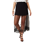 GINGER Pleated Lace Trim Midi Skirt